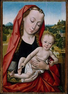 Workshop of Dieric Bouts  (Netherlandish, Haarlem, active by 1457–died 1475).  Virgin and Child, 1475–99, Oil on wood, Overall 11 1/2 x 8 1/4 in.