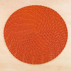orange braided placemats