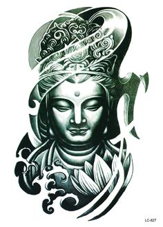 LC2827 21*15cm Large Big Tatoo Sticker Bronze Buddha Head Drawing Designs Cool…