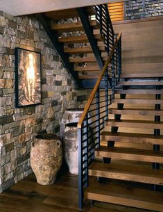 40 Exceptional Floating Staircase Design Ideas To Looks Dazzling - Page 18 of 43 Wooden Staircase Design, Rustic Staircase, Floating Staircase, Staircase Railings, Wooden Staircases, Modern Staircase, Staircase Ideas, Stair Design, Railing Ideas