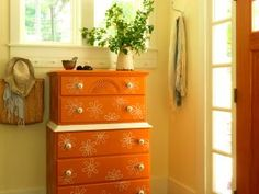 We used paint and ice cream sticks to transform an old dresser into a funky piece of new furniture. Made by Joanne Palmisano Salvage Secrets for DIY NETWORK Decor, Furniture, New Furniture, Diy Dresser, Home, Repainting Furniture, Discount Bedroom Furniture, Dresser Inspiration, Refurbished Dressers