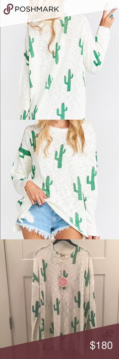 Show Me Your Mumu Cactus Varsity Sweater Beautiful and lightweight! Brand new with tags! I ordered from another posher but it's a little too big. It is completely sold out online and rare to find! Show Me Your MuMu Sweaters