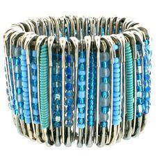 Turquoise & aqua beaded safety pin bracelet kinda fun :D