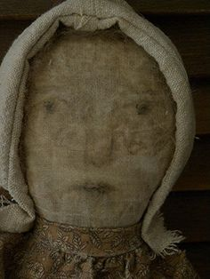Very Primitive Folk Art Worn Face Rag Doll by Mustard Seed Originals