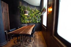 A Look at the Plant Wall and Leather Stools of Atera photos by www.nycfoodphotographer.com