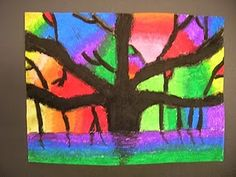 4th Grade Art - Banyan Tree using Negative/Positive Space and blending of neighboring colors on the color wheel.