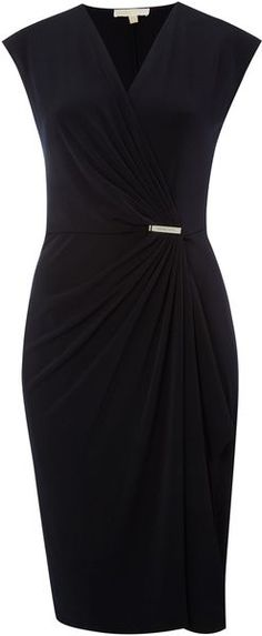 Michael By Michael Kors Cap Sleeve Wrap Dress with Pin in Black (navy) | Lyst