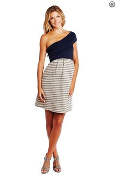 Striped Asymmetrical Shoulder Maternity Dress by Maternal America