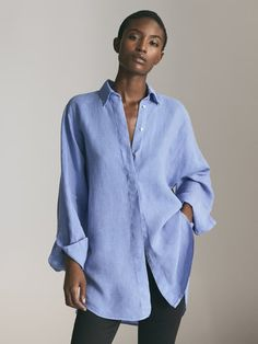 Massimo Dutti - Women - linen oversized blouse - Indigo - S Blouses For Women, Jackets For Women, Polo Shirt Girl, Linen Tshirts, Oversized Blouse, Elegant Outfit, Cotton Blouses, Contemporary Fashion, Shirts For Girls