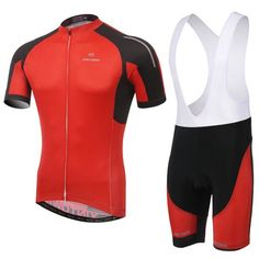 Men's Red Short Sleeve Cycling Jersey Set #Cycling #CyclingGear #CyclingJersey #CyclingJerseySet