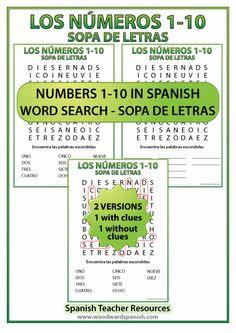 FREE Spanish Numbers 1 to 10 Word Search - Sopa de letras - Los números del 1 al 10