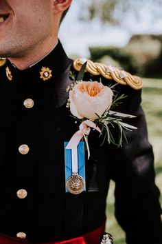 Large flower buttonhole with rosemary, military wedding, no 1 dress with medal. Image by Sally Rawlins Photography Military Wedding, Wedding Groom, Groom Style, Large Flowers, Sally, Floral Tie, Wedding Styles, Photography, Image
