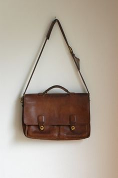 Vintage Coach Distressed Leather Briefcase Satchel  Bag w/ Shoulder Strap