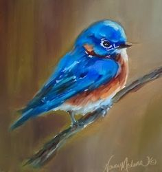 Contemporary Artists of Texas: Little Blue Bluebird by Nancy Medina