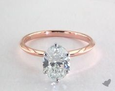 1.82 Carat H-SI2 Oval Cut Diamond. 14K Rose Gold Solitaire Engagement Ring 402031