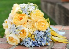 blue and yellow wedding flower bouquet, bridal bouquet, wedding flowers, add pic source on comment and we will update it. www.myfloweraffair.com can create this beautiful wedding flower look.