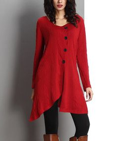 Look what I found on #zulily! Red Button-Front Cable-Knit Tunic #zulilyfinds