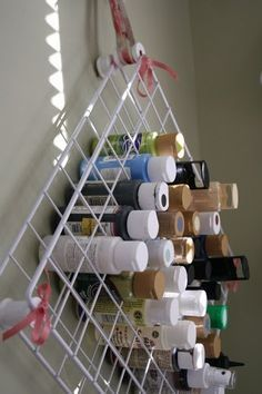 Organize paints in a craft room idea! Plus 12 Other Thrifty and Practical Organization Ideas all around your house!