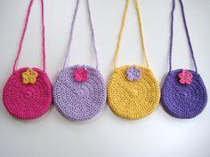 Crochet Pattern Round Circle purse bag INSTANT by avondalepatterns Crochet Circles, Crochet Round, Crochet For Kids, Free Crochet, Crochet Handbags, Crochet Purses, Crochet Bags, Flower Crochet, Circle Purse