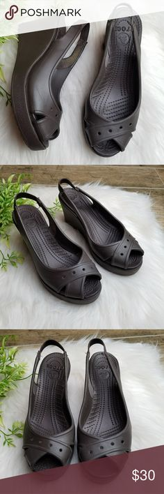 3f3286f64328 Crocs brown wedge platform sling back heels Crocs brown wedge platform  sling back heels. In