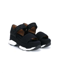 MARNI Velcro Fastened Glitter Flatforms. #marni #shoes #flats