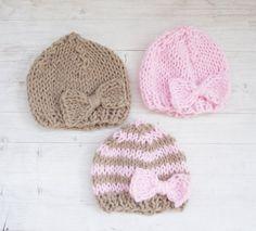 Hand Knitted Newborn Hat /  Baby Girl Hat / by ZucchiniIsland, $19.50