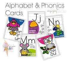 Alphabet & Phonics Cards -SUPER ADORABLE - includes phoneme cues for A-Z and vowel pairs, diphthongs/digraphs and long vowels.