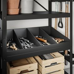 BROR Shelving unit with clothes rails, black. The shelving unit is durable, easy to clean and protected from rust since it is made of powder-coated galvanized steel. Garage Storage Shelves, Garage Shelf, Tool Storage, Shed Shelving, Home Gym Garage, Garage Cabinets, Storage Room, Storage Ideas, Shed Organization