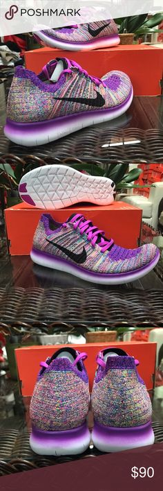 Nike WMNS Free Flyknit.   Make an offer - Brand: Nike   - Style: Nike WMNS Free Flyknit  - Condition: Brand New In Original Box(without lid) - Style Code: 831070-500  - Size: US Women's 9.5 - Color: Hyper Violet / Black / Blue Concord - Please Purchase With Confidence! - All shoes are acquired from Nike or certified retailers of Nike ONLY! - We only work with 100% authentic shoes of A+ quality. - PLEASE CONTACT US WITH ANY QUESTIONS OR CONCERNS REGARDING THIS PRODUCT. Nike Shoes Sneakers