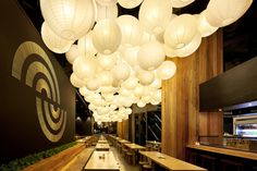 RamenYa Restaurant developed by Matt Gibson Architecture + Design . Find all you need to know about RamenYa Restaurant products and more from Bookmarc. Australian Interior Design, Interior Design Awards, Restaurant Interior Design, Interior Decorating, Garden Lanterns, Paper Lanterns, Paper Lamps, Japanese Lighting, Deco Furniture