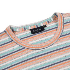 Paul Smith Men's T-Shirts | Grey Marl Pastel-Stripe Organic-Cotton T-Shirt