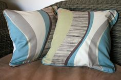 "SALE - Pair of Retro 70's 16"" Cushion Covers (Blue, Brown and Green)"
