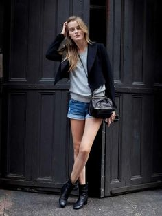 black blazer, gray t-shirt, blue denim shorts, black shoes @roressclothes closet ideas #women fashion outfit #clothing style apparel