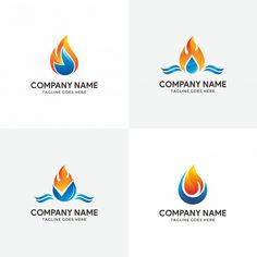 Abstract flame and water logo design template for your company. Logo Design Template, Custom Logo Design, Custom Logos, Plumbing Companies, Water Icon, Solar Energy Projects, Heating And Plumbing, Water Logo, Plumbing Problems
