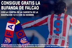 Celebra la victoria ante el Sevilla y los 50 goles de Falcao con la rojiblanca llevándote esta bufanda GRATIS por la compra de la camiseta del Tigre. Haz click sobre la imagen para más información ;)