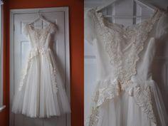 Vintage 1950s Wedding Dress | Ivory Tulle Floral Appliqué Wedding Dress • Grace Kelly dress
