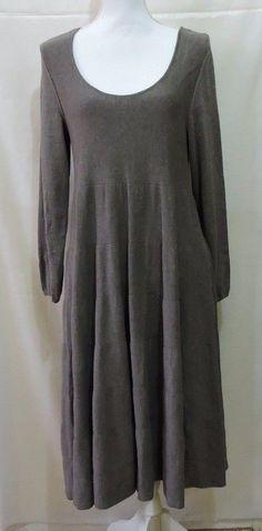 J. Jill Cotton Silk Knit Gray Swing Dress Size M #JJill