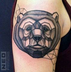 geometric bear head tattoo by NEO