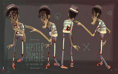 #illustration #picture #artwork #illustrating #color #posters #design #art - Zombie Hipster by Mr.Antiheroe, via Flickr