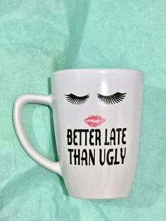 Glitter mug, Makeup seller gift, eyelashes, glitter lipstick, Mary Kay seller, 12 oz, funny mug, co-worker gift
