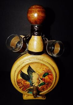 Vintage Italy Leather Wrapped Liquor Glass Decanter Bottle Duck Decorated