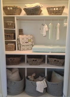 A nursery closet makeover fit for a prince - baby cambridge perhaps? Baby Bedroom, Baby Boy Rooms, Baby Boy Nurseries, Kids Rooms, Nursery Closet Organization, Nursery Storage, Organization Ideas, Storage Ideas, Baby Wardrobe Organisation