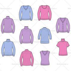 Women's Sweater Fashion Flat Templates