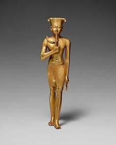 "Statuette of Amun~Ca. 945-712 B.C., Egypt~gold~The god Amun (""the hidden one"") first came into prominence at the beginning of the Middle Kingdom. From the New Kingdom onward, Amun was arguably the most important god in the Egyptian pantheon. As a creator god, Amun is most often identified as Amun-Re (in the typical Egyptian blending of deities, Amun is combined with the main solar deity, Re). His main sanctuary was the immense temple complex at Karnak."