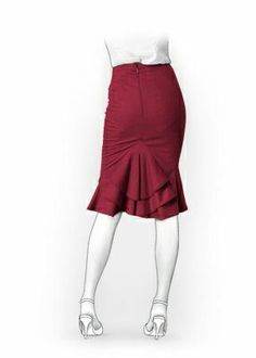 use pleated pencil skirt pattern, add ruffled panel