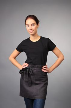Linen apron, Half Apron, Linen midi apron, linen half apron, washed tea linen apron, organic linen