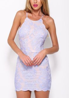 Halter Backless Lace Bodycon Dress #bodycondress