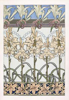 """1902-3 'Decorative Lily' from """"Documents Decoratifs par A. M. Mucha"""", by Librairie Centrale des Beaux Arts, Paris, France"""