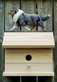 Bird House W/ Collie on Peak. Home,Yard & Garden Dog Design Products & Gifts.