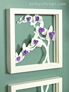 Ashbee Design: Orchid Shadow Box - made from paper- cutting files available ashbeedesign.com